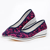 2017 Spring Autumn New Tide Women Canvas Nurse Work Shoes White Blue Print Mid High Wedge Heel Breathable Comfort Casual Shoes - Raja Indonesia