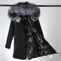2017 new fashion women luxurious Large raccoon fur collar hooded coat warm Fox fur liner parkas long winter jacket top quality - Raja Indonesia