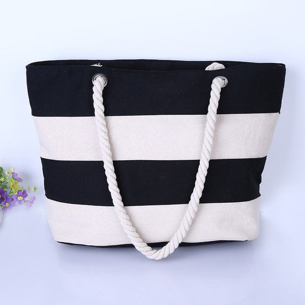 2016 Women Beach Canvas Bag Fashion Color Stripes Printing Handbags Ladies Large Shoulder Bag Totes Casual Bolsa Shopping Bags - Raja Indonesia