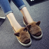 Creepers Hot Sale Sweet Heart Slip On Women Flats Shoes 2015 Spring Autumn Rabbit Ears Canvas Fashion Casual Girls Flats D0918 - Raja Indonesia