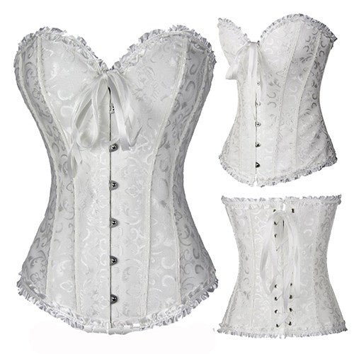 19ec7915ab ... Black White Sexy Boned Waist Trainer Brocade Corsets Bustiers  Embroidery Lace Up Corselet Gothic Plus ...