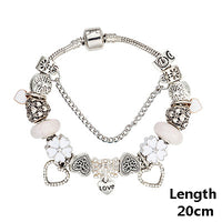 2017 New White Glass Charm Bracelets & Bangles Silver Plated Heart Charm Beads Fit Pan Bracelets For Women Jewelry G B16098 - Raja Indonesia