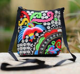 Women Bucket Messenger Bags National Double-sided Embroidery Canvas Small Sling Shoulder Crossbody Bag Beach Bag Bolsos Mujer