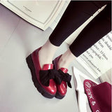 Sweet Bow Patent Women Slip-on Casual Flat Oxford Shoes Fashion Girls Casual Flat Shoes Round Toe Loafers Shoes Women L373