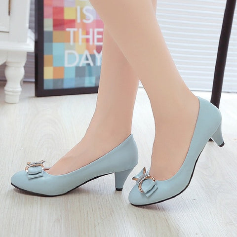 2016 spring and autumn new mother fashion shoes bow sexy sexy high heels with large size banquet ladies shoes - Raja Indonesia