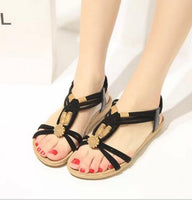 2017 Bohemian Women Summer  Sandals low Heel Flip  Shoes With Sunflower Beads Flat Shoes  Size 36-40 .HYKL - Raja Indonesia