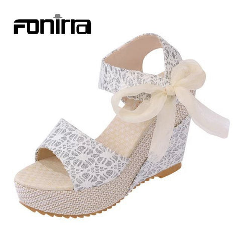 Ladies Sandals Summer Casual Sandals European Style Fashion Print Lace Ribbons Women Sandals Wedges Platform High Heel Shoes 155 - Raja Indonesia