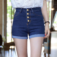 2017 Hot New Fashion Women Jeans Summer High Waist Denim Shorts Ladies Slim Bottoms Casual Female Bule Short Pants Plus Size - Raja Indonesia