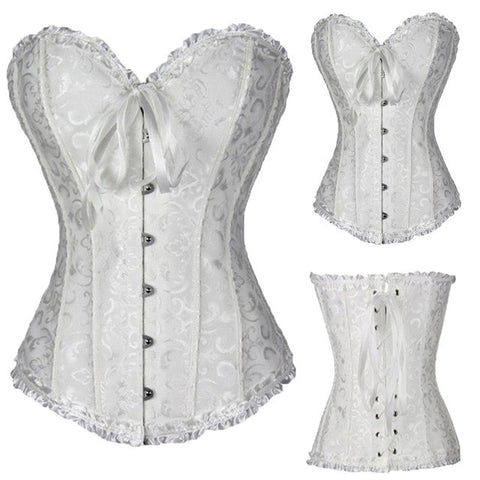 Satin Bone Lace Up Steampunk Corset Sexy Bustier Women Corselet Corset and Bustier Corset Overbust Slim Corset Strapless