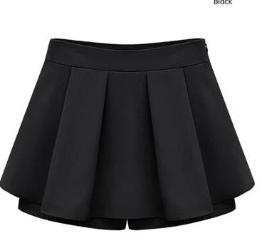 2017 Summer Style Women Culotte Candy Color Slim Pleated Shorts Skirts Chiffon Shorts with Zipper Plus Size High Qaulity q133 - Raja Indonesia