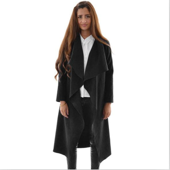 2016 autumn winter coat women casual loose wide lapel wool blend oversize coat trench long Outerwear loose clothing femme casaco - Raja Indonesia