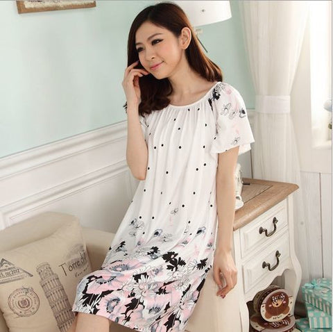 Hot 2016 Women's fashion Cozy Large size sleepwear Breathable Short sleeve Nightgowns Flowers printing nightgown - Raja Indonesia