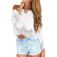 2016 New Summer Chiffon shirt Women Off Shoulder Blouse Casual Crop Tank Tops Cover up Boho white Lace Blouse Femme blusas - Raja Indonesia