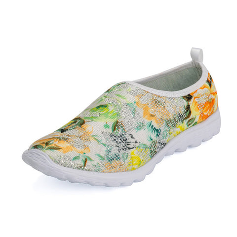 2016 New Fashion casual women shoes zapatos mujer jogging shoes Floral printed chaussure femme massage sapatilhas Flat footwear - Raja Indonesia