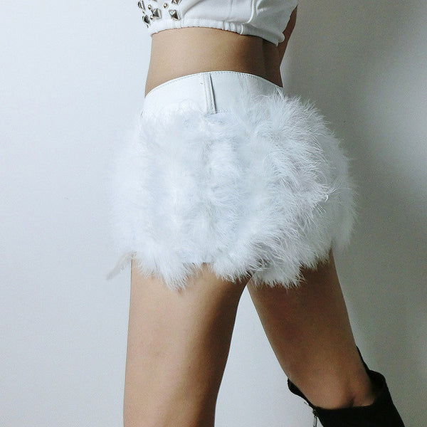 2017 Sexy Women Denim Mini Super Shorts PU Leather Slim Shorts White Black Fur Casual Female Mid Waist  Femininas Shorts - Raja Indonesia