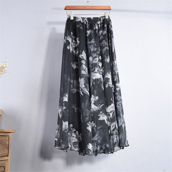 2017 Summer New Fashion Vintage Bohemia Chiffon Floral Printed Women Boho Floor-Length Long Maxi Beach Party Loose Flare Skirt - Raja Indonesia