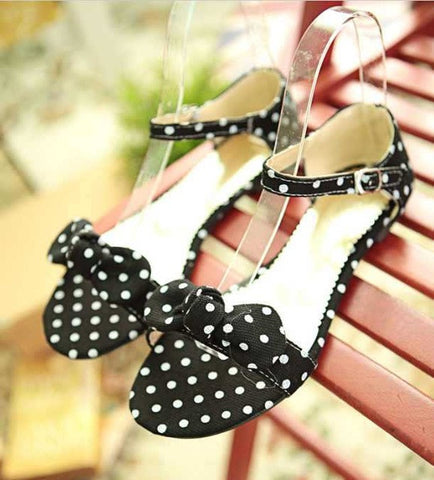 Big Size 34-43 Sweet Polka Dot Bow shoes Transpierce Gentlewomen Brief Hasp flat-bottomed Female Sandals  Summer New flat - Raja Indonesia