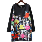 2017 New Spring Women Midi Party Dress Vestidos Miss Kitty Vestido Long Sleeve Loose Ladies Cats Print Dresses Plus Size M-4XL - Raja Indonesia