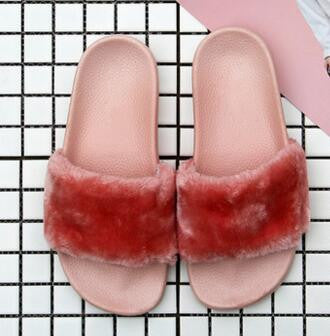 36-44 Big size woman fur slippers unisex fur slides fur flip flops fashion 10 color sandals with feather luxury brand slides - Raja Indonesia
