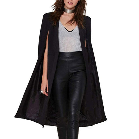 2017 Women Trench Coat  Fashion Cape Cardigan Blazer Plus Size Loose Long Cloak Outerwear Women Ladies Windbreak Ponch Coat - Raja Indonesia