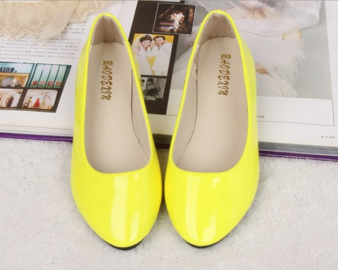 2017 Soft PU Candy Colors Girl Flats Shoes Red Wholesale Rubber Ballet Zapatos Point Toe Women Casual Shoes H021 - Raja Indonesia