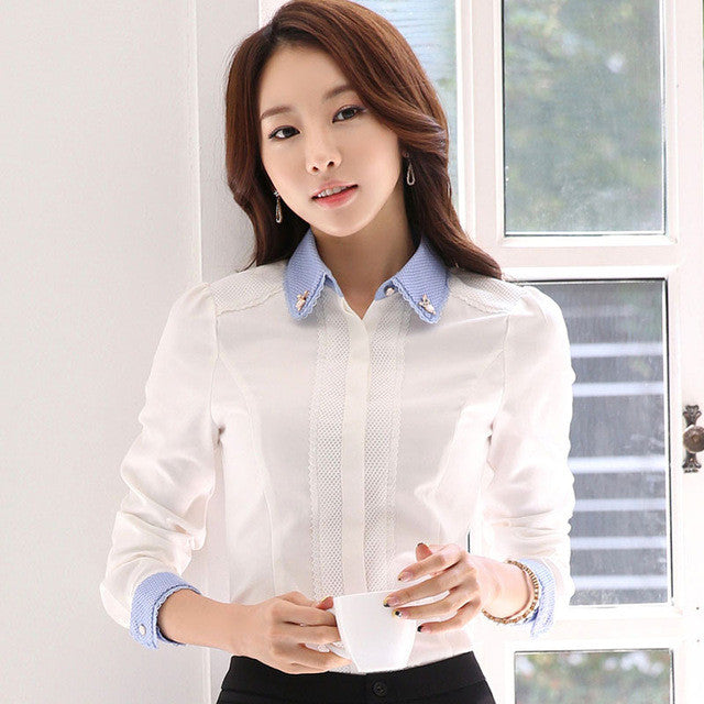 fa4036464ab198 ... Women elegant White Blouse with accessories Female Shirts Ladies work  wear office shirt New Fashion Long
