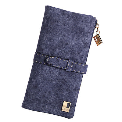 2015 New Fashion Women Wallet Matte Leather 7 Colors Clutch Wallets Ladies Long Clutches Two Fold Coin Purse Card & ID Holder - Raja Indonesia