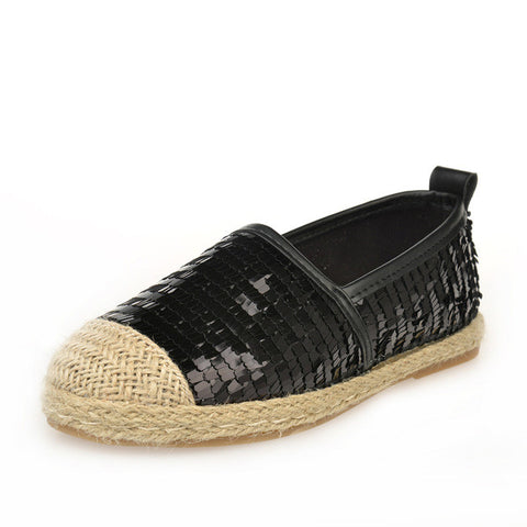 2016 Spring Women Espadrilles Flats Glitter Loafers Woman Casual Shoes Slip on Flat Loafer zapatos mujer boat shoes black sliver - Raja Indonesia