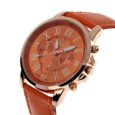 Mance 11 Colors New Fashion Ladies Watches Roman Numerals Faux Leather Analog Quartz Women Men Casual Relogio Hours Wrist Watch - Raja Indonesia