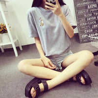 2017 New Summer Embroidery Summer T shirt Women Tops Short Sleeve Loose O-neck T-shirt Women Tees Plus Size 61486 - Raja Indonesia