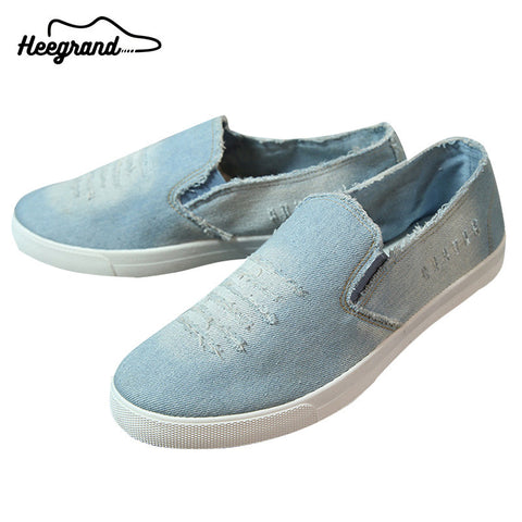 HEE GRAND Men Denim Canvas Causal Shoes 2017 Hot Sale Flat-with Slip-on Men's Fashion Breathable Shoes XMR1659 - Raja Indonesia
