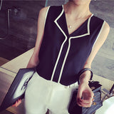 2017 Summer Fashion Womens Casual White V Neck Sleeveless Black Side Chiffon Blouse Shirt Work Wear Women Tops - Raja Indonesia