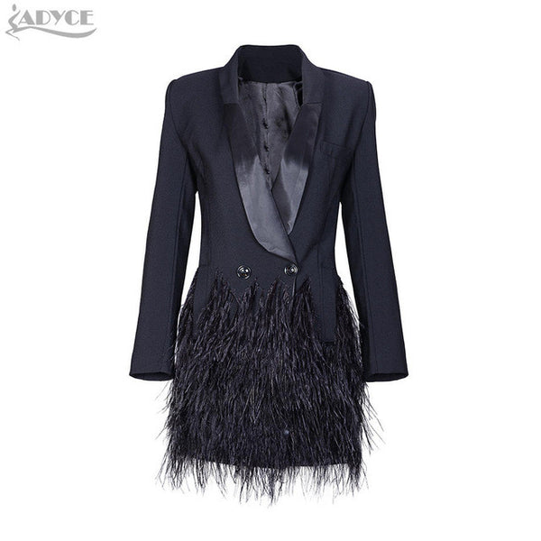 2017 new Fashion Blazer Women Jacket black Feathers Notched jaqueta feminina Celebrity Runway Jackets Elegant Lady Winter Blazer - Raja Indonesia
