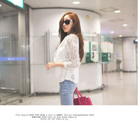 2017 Spring Autumn Lady Working Casual Blazer Lace Floral Sleeve Slim Sexy Suit Single Button Jacket Plus Size Coat White Black - Raja Indonesia