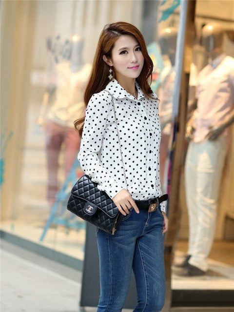 7cea0f553 ... Hot Sale Casual Women Blouses New Summer Lady Polka Dots Vintage Design  Long Sleeve Turn Down ...