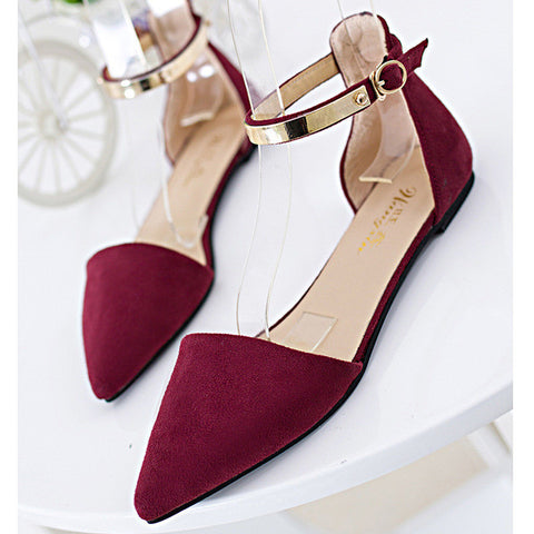 2016 Summer European Style Pointed Toe Women Sandals Concise Cover Heel Flat Women Sandals Fashion Buckle Strap Women Shoes 164 - Raja Indonesia