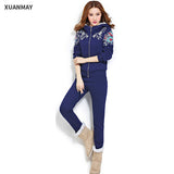 2017 new winter Big yards Leisure suit Female winter   plus thick cashmere knit sweater two sets of female - Raja Indonesia