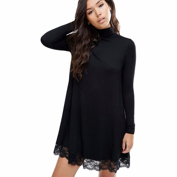 2017 Spring And Summer New Arrival Women Sexy Black Crochet Turtleneck Lace Long Sleeve Loose Shift Dress Fall Patchwork Dresses - Raja Indonesia