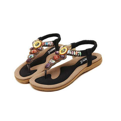 2016 Plus Size 35-41 Woman Summer Sandals Shoes With Rhinestone Exquisite Diamond Bohemian Flats Fashion Casual Women Flip Shoes - Raja Indonesia