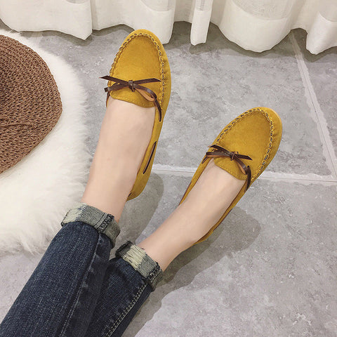 6 Color Women Loafers Candy color Slip on Shoes Nubuck Leather Flats Bow Boat Shoes Woman fringed Flat Shoes Zapatos mujer - Raja Indonesia