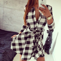 2017 Autumn Print Grid Dress Sexy Long Sleeve Office Dress Bodycon  Bandage Street  Dress Fall Robe Pull Femme Hiver Vestidos - Raja Indonesia