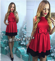 2017 New Elegant Blue Patchwork Cute Bow Dress Women Fashion Casual Sleeveless A-line Tunic Dresses Ladies robe femme - Raja Indonesia