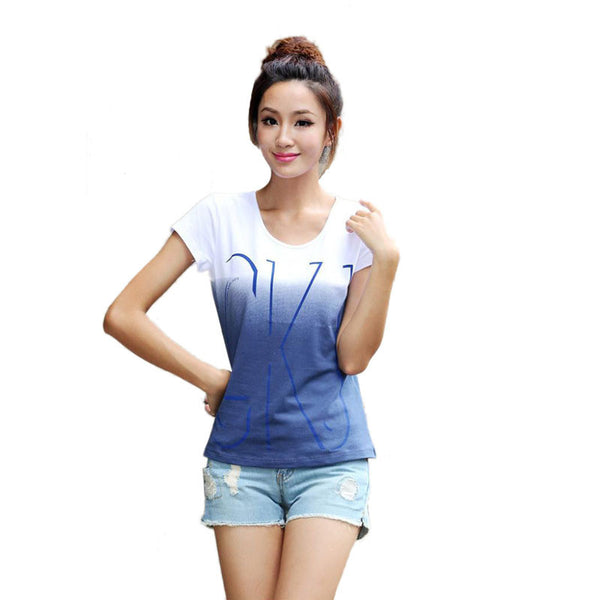 2017 Brand New Cotton Women Short Sleeve T-shirts O-neck Causal Loose Print T shirt Summer Tops For Women Top Tees - Raja Indonesia
