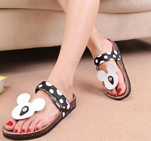 Summer Mouse Shoes Woman Sandals Mujer Cute Dot Flip Flops Women Cork Slippers Ladies Girls Flat Sandals Beach Shoes Plus Size
