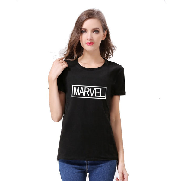 2016 fashion Women's Summer TShirt Clothes short sleeve Shirt O-neck pure cotton marvel letter printing Free Shipping - Raja Indonesia
