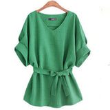 2017 Summer XL- 5XL Plus Size Women Shirts Linen Tunic Shirt V Neck Big Bow Batwing Tie Loose Ladies Blouse European Female Top - Raja Indonesia