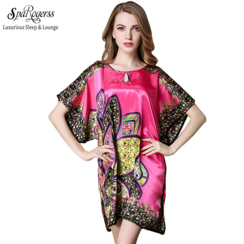 SpaRogerss Top Promotion Summer Style Faux Silk Ladies Bathrobe Home Suit Plus Size Special Sleep Top For Women Pyjamas 10215