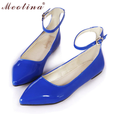 Meotina Ladies Shoes Pointed Toe Flats Ankle Strap Ballet Shoes Yellow Blue Patent Leather Flat Shoes Women Large Size 9 10 42 - Raja Indonesia