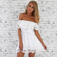 2017 Fashion women Elegant Vintage sweet lace white Dress stylish sexy slash neck casual slim beach Summer Sundress vestidos - Raja Indonesia