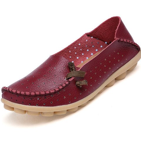 New Summer Genuine Leather Hollow Out Women Shoes Casual Flat Shoes Breathable 2017 Fashion Women Loafers Flats Size 34-44 - Raja Indonesia
